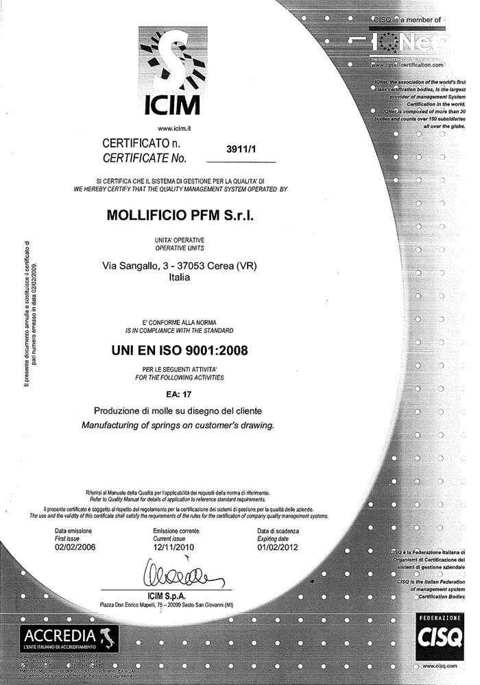 Certificate 2010 2012 - PFM Springmaker - PFM Springmaker